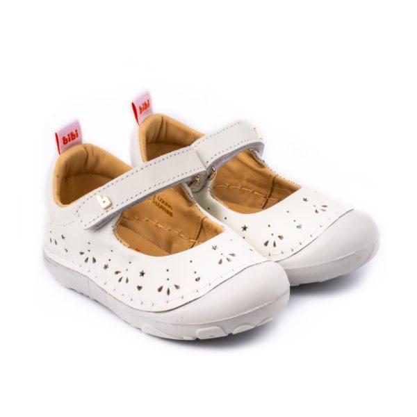Pantofi Fete Bibi Grow II Albi Perforati