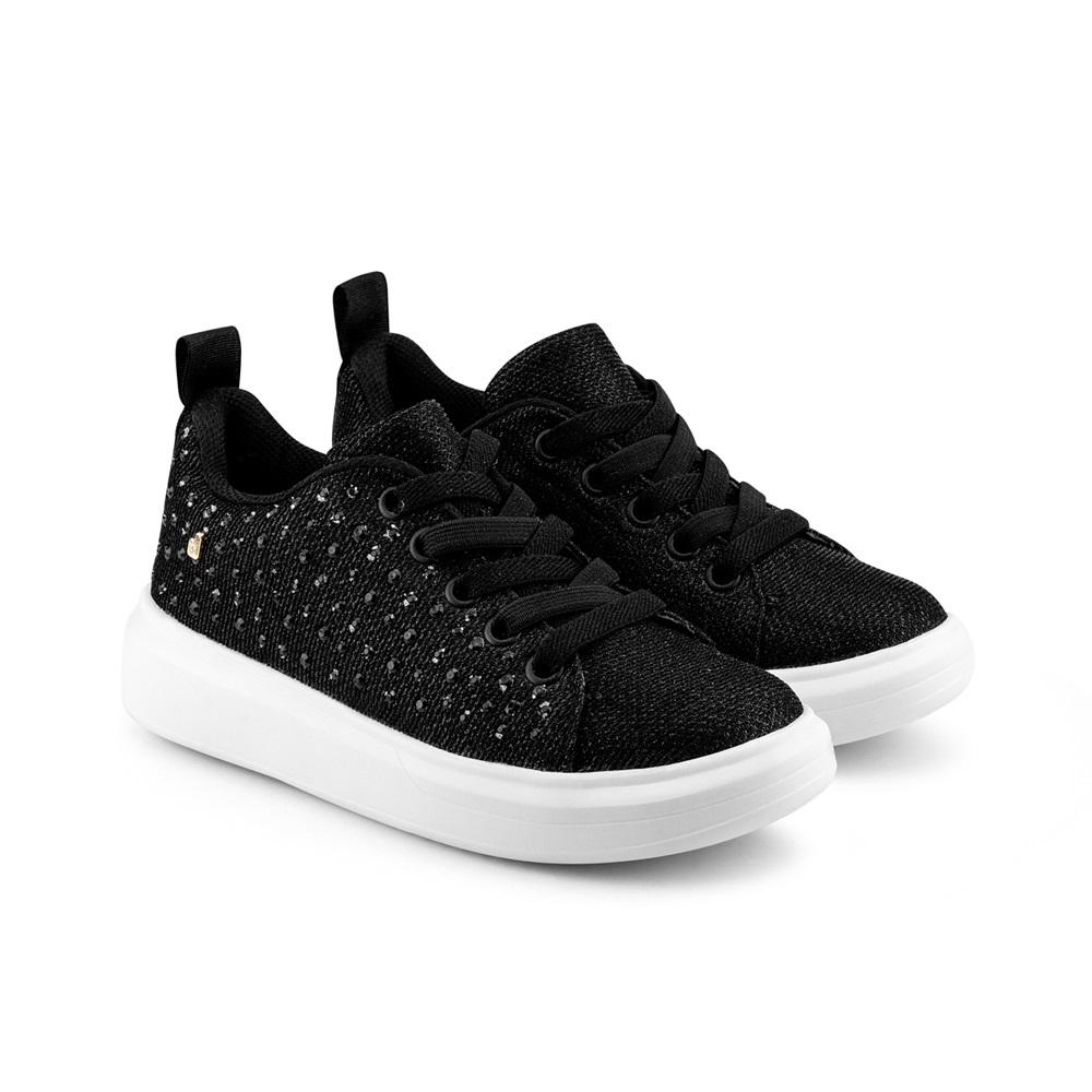 Pantofi Fete Bibi Glam Black cu Sireturi Elastice